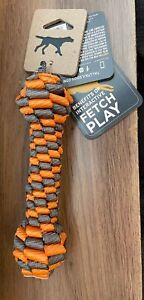 "Tail Tails Braided Orange Bone Teething Dental Barbell Gums Dog Toy 7"""