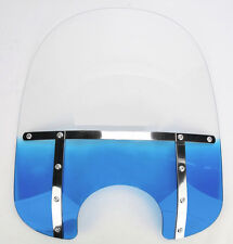 "MEMPHIS BLUE 17"" WINDSHIELD & MOUNT KIT HARLEY DYNA FXD SUPER GLIDE LOW RIDER"