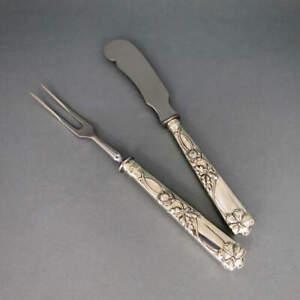 Serving Cutlery Pausch Pohl Berlin Art Nouveau Silver Rich Decorated Handmade