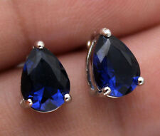 18K White Gold Filled - 5*7mm Waterdrop Navy Blue Topaz Zircon Wedding Earrings