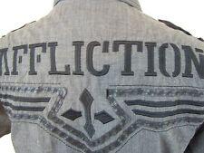 AFFLICTION Black Premium Slim, Buckle, Embroidered shirt, Men's Large,