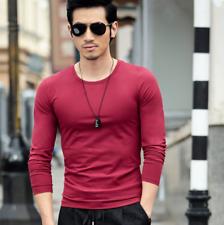 Para Hombre Ajustada Casual Camiseta Prendas para el torso Mangas Largas Para Hombre Seda De Leche blusa de color sólido
