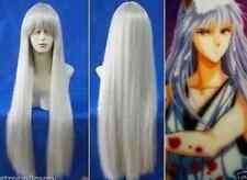 2017 Hot! inuyasha kurama Long Silver White Cosplay Straight Full Wigs 029