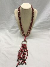Jay King DTR mine find Sterling red  coral Tassel necklace