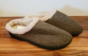 NEW Men's ISOTONER Smoky Taupe Gel Infused Memory Foam Slippers Size Medium 8-9