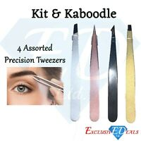4 Pack Precision Eyelash & Eyebrow Tweezers Easy Hair Removal By Kit & Kaboodle
