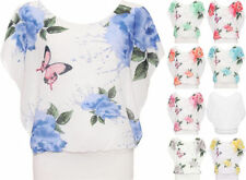 Polyester Floral Plus Size Sleeveless T-Shirts for Women