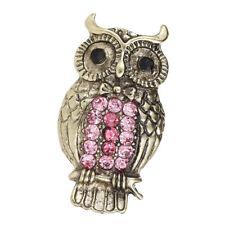 Brooch Pin Wedding Party Animal Corsage Pink Rhinestone Black Eyed Owl Bird