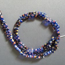 "Millefiori Lampwork Glass Beads Blue Rectangle 14mm 15"""