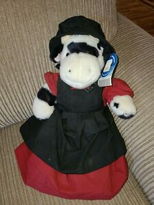 """BUILD A BEAR Holstein Cow Black White Retired Super Soft  19"""" Clothed"""