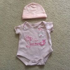 BABY GIRL PINK VEST BODYSUIT & HATHAT BUNDLE AGE NEWBORN MATALAN GEORGE REE P&P