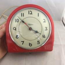 Vintage 1940's Telechron Red Art Deco Kitchen Wall Clock 2H07 Canadian 6.5 Works