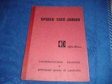 per alfa romeo spider 1300 junior manuale di caratteristiche tecniche