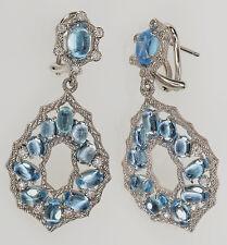 Judith Ripka Blue Topaz Sterling Silver Dangle Earrings