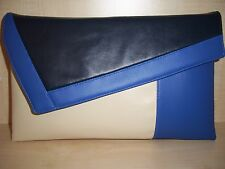 OVER SIZED ROYAL BLUE, CREAM & NAVY BLUE asymmetrical faux leather clutch bag.
