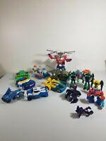 Lot Of 15 Transformer Toy Figures Rescue Bots Bull Dozer BulkHead Optimus Bumble