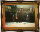 Bellows Snow Dumpers 1911 Wood Framed Canvas Print Repro 18x24