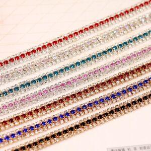 1 Yard 3 Rows Colorful Crystal Rhinestone Trim Chain Sewing Craft Chains Belt