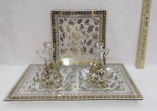 Georges Briard Persian Garden Serving Tray Plate Cruets Set 4 Vintage Glass Gold