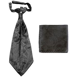 New men's polyester ASCOT cravat neck tie & hankie set Charcoal Paisley prom