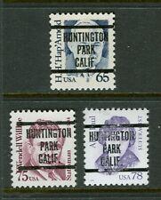 Huntington Park CA 240 precancel on three high denom Great Americans; 65  75  78