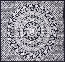 Black and white elephant tapestry cotton hippie wall hanging indian bedspread