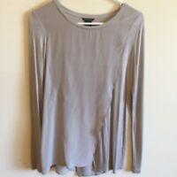 5647)  CLUB MONACO gray jersey knit thin pullover top blouse viscose silk XS