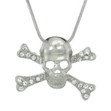 Skull Crossbones Pendant Made With Swarovski Crystal Necklace Pendant Jewelry