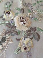 Vintage Embroidered Linen Tablecloth Cutwork Sheer Center Silk Thread Decoration