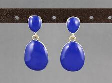 D Royal Blue painted oval teardrop post stud dangle hinged door knocker earrings