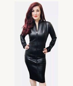 Misfitz blk leather look mistress dress 2 way zip size 28. Cross Dresser TV Goth
