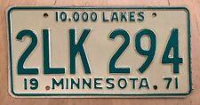 "Nice ! 1971 Minnesota Passenger Auto License Plate "" 2Lk 294 "" Mn 71"