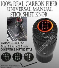 JDM Real Black Real Carbon Fiber Red LED Manual Stick Shift Knob 5/6 Speed A53