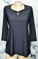 ORIGINAL ANTTHONY NEW NWT Black Keyhole Top Small 3/4 Sleeves Fluid Jersey