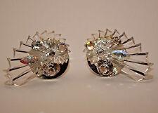 RARE Unique VINTAGE LARGE VOGUE CUFF EARRINGS Lucite & Swarovski Crystals