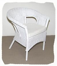 Avalon White Wicker and Rattan Chair with Cushion - BRAND NEW