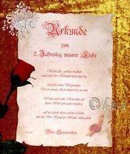 Liebesurkunde Antik Gedicht Mappe Jahrestag Unikat Hochzeitstag Partner Geschenk