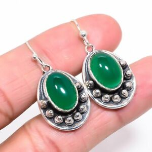"""Native American Style African Green Onyx Silver Jewelry Earring 1.46"""" F1876"""