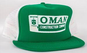 Vintage 1990's OMAN Construction Company Contractors Engineers Snap Back Hat Cap