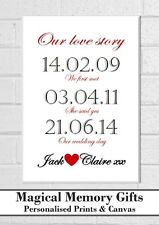 Wedding gift a3 canvas love husband wife couple anniversary personalised bespoke