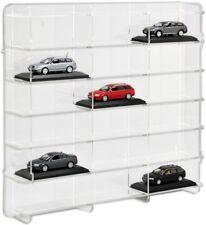 SORA Model Car Display Cabinet 1/43, Back-Panel: Transparent, For 18 Model Cars