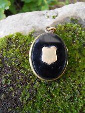 Ancien bijou pendentif porte photo souvenir XIXe en opaline noire