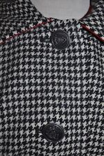 Vintage Women'S size medium Penguin Wool Lined black houndstooth Coat chic! Usa