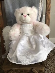 "Build a Bear White-Pink Accents and Pink Nose 15"" Teddy Bear Wedding Dress/Shoes"