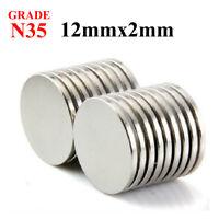 10-100 PCS 12mm X 2mm Neodymium Disc Strong Rare Earth N35 Small Fridge Magnets