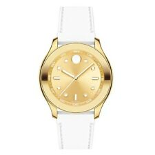 Movado 3600410 Bold Gold Dial White Silicone Band Swiss 38MM NEW AUTHENTIC