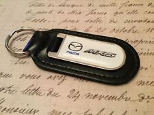 MAZDA Black Real Leather Keyring  Printed and resin coated MX 5 CX 2 3 RX 7 8