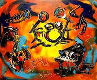 MUSIC JAZZ  IMPRESSIONIST IMPASTO ARTIST  Original Oil Painting  UPUPNI