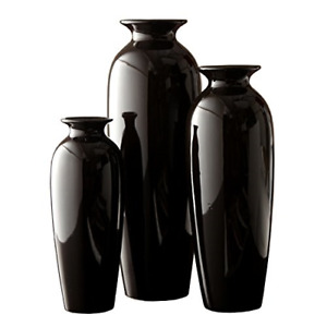 Hosley Set of 3 Black Ceramic Vases in Gift Box. Ideal Gift for Wedding or for