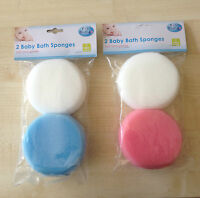 NEW PK 2 FIRST STEPS BABY/TODDLER BATH SPONGES,2  Blue,White,Boys,Girls,Fun Gift